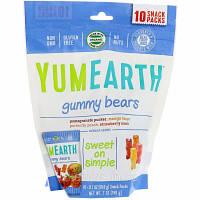 Жевательные конфеты YumEarth, Жевательные мишки, Ассорти вкусов, 10 пакетов со снеками, 0,7 унц. (19,8 г)