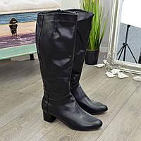 Женские классические кожаные сапоги на невысоком каблуке. 41 размер