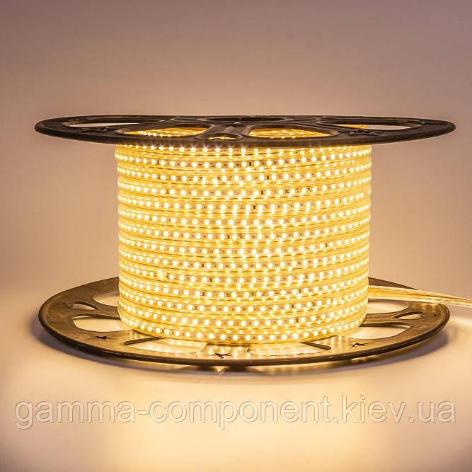 Світлодіодна стрічка 220В жовта AVT smd 2835-120 лід/м 4Вт/м, герметична. Бухта 50 метрів.