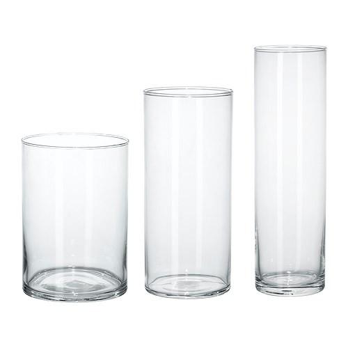 ЦИЛИНДР Набор ваз,3 штуки,прозрачное стекло