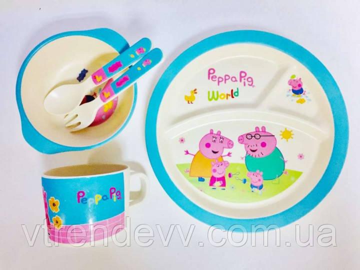 Набор детской посуды из бамбука Bamboo Fibre kids set Свинка Пеппа 5 в 1