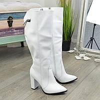 Ботфорты демисезонные кожаные на высоком устойчивом каблуке. 39 размер