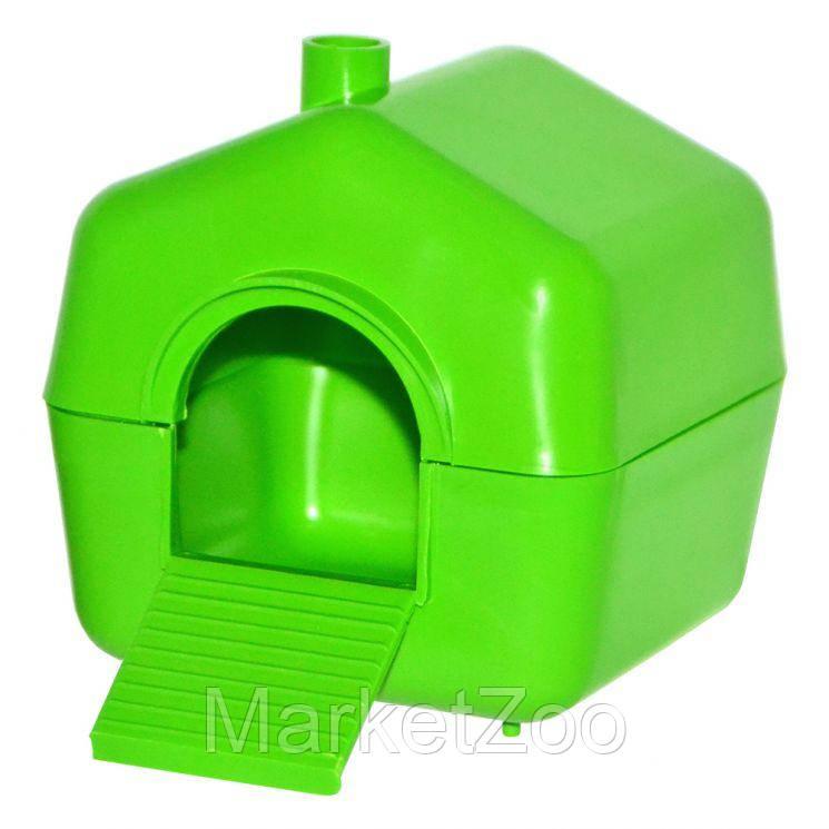 Дом пластмассовый для малых грызунов размер 10см*10см