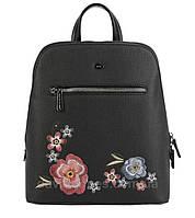 Стильный городской женский рюкзак с вышивкой цветов - David Jones (6130-3)