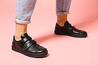 Кроссовки на липучках женские кожаные стильные черные натуральная кожа 36