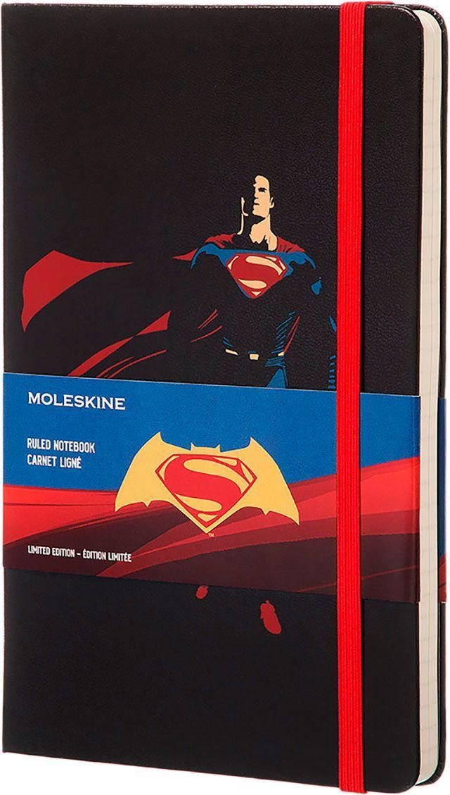 Блокнот Moleskine Batman vs Superman: Superman средний черный  (линейка)