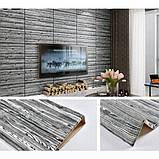 Самоклеющаяся декоративная 3D панель под дерево цвета зебры 700x700x7мм Os-FLM03, фото 3