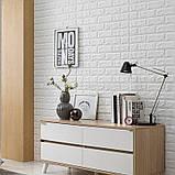Самоклеющаяся декоративная 3D панель под белый кирпич 700x770x7мм Os-BG01-7, фото 5