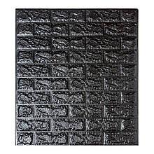 Самоклеющаяся декоративная 3D панель под черный кирпич 700x770x7мм (Os-BG19)