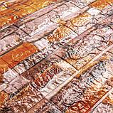 Самоклеющаяся декоративная 3D панель под кирпич песчаник 700x770x6мм Os-CZ06, фото 4
