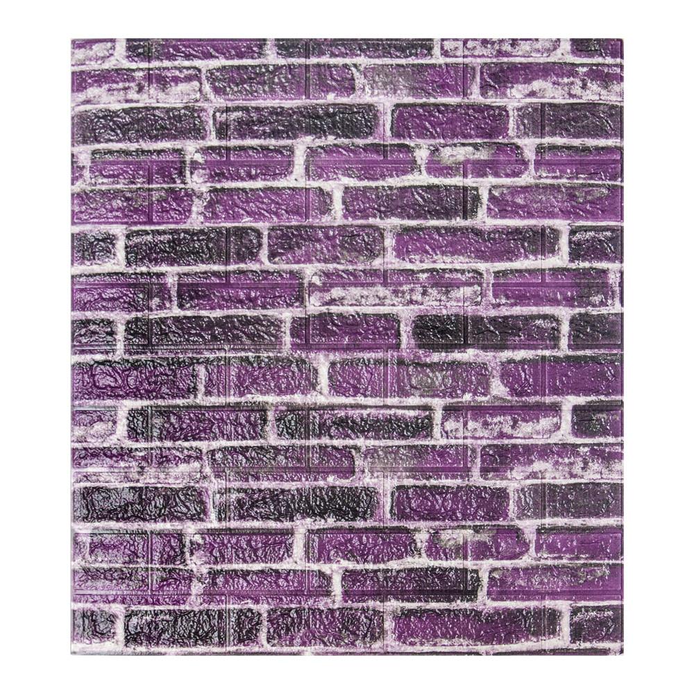 Самоклеющаяся декоративная 3D панель под фиолетовый екатеринославский кирпич 700x770x7мм Os-CZ-01-5