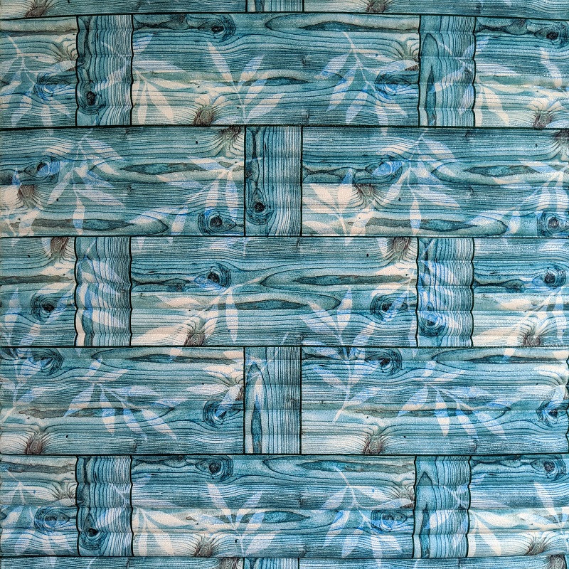 Самоклеющаяся декоративная 3D панель бамбуковая кладка бирюза 700x700x8мм