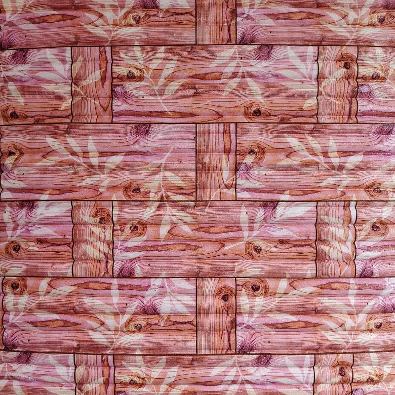 Самоклеющаяся декоративная 3D панель бамбуковая кладка оранжевая 700x700x8мм