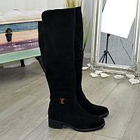 Ботфорты зимние черные женские замшевые на невысоком каблуке, декорированы ремешком. 38 размер