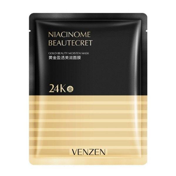 Тканевая маска для лица VENZEN NIACINOME BEAUTECRET 24К GOLD BEAUTY MOISTEN MASK с золотом и ниацинамидом 24К