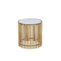 Журнальный стол CJ-1 белый мрамор + золото Vetro Mebel