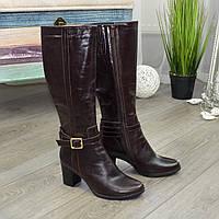 Сапоги демисезонные женские кожаные коричневые на устойчивом каблуке. 37 размер