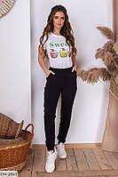 Удобные женские спортивные штаны двунитка с манжетом арт 2004