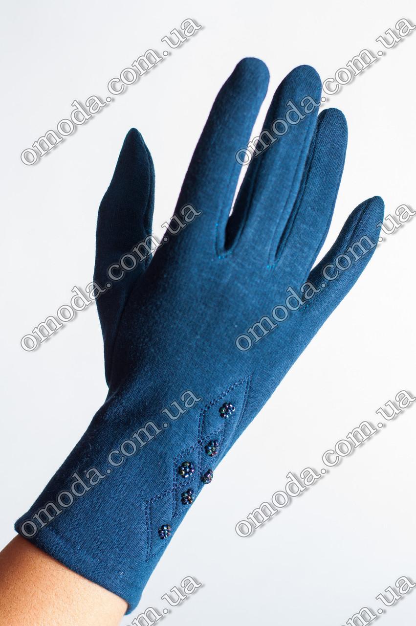 Женские стрейчевые перчатки с бисером синие