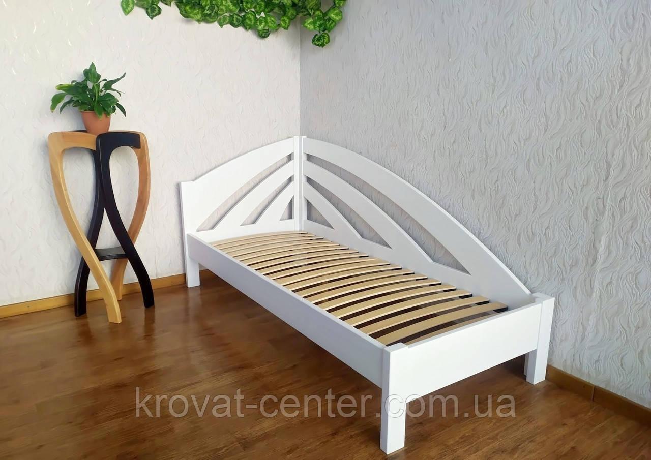 """Белая детская кровать из массива дерева от производителя """"Радуга"""" угловая"""