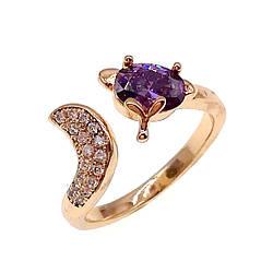 Кольцо Xuping из медицинского золота, фиолетовый фианит, позолота 18K, 11791       (Безрозмірна)