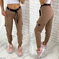 Модные женские брюки на весну с поясом арт 0119