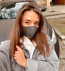 Багаторазова захисна маска для обличчя (Графіт/білий)