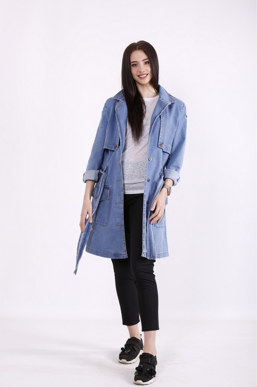 Куртка плащ-тренч джинсовый женский большие размеры 42-74
