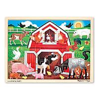 """Дерев'яні пазли в рамці """"Ферма"""", 24 елемента Melissa&Doug (MD19061)"""