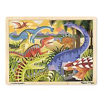 """Дерев'яні пазли в рамці """"Динозаври"""", 24 елемента Melissa&Doug (MD19066)"""
