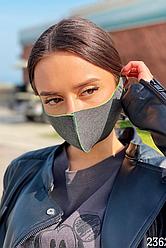 Багаторазова захисна маска для обличчя (Графіт/салатовий)
