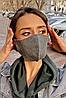 Багаторазова захисна маска для обличчя (Графіт/салатовий), фото 2