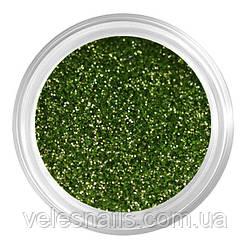 Глиттерный пісок для нігтів темно-зелений