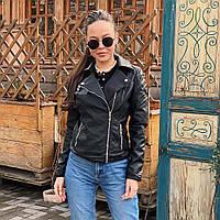 Куртка демисизонная косуха Tailis экокожа чёрная 8805