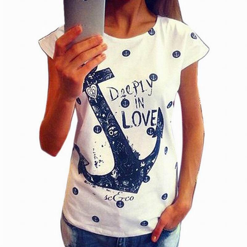 Трикотажная женская футболка с принтом Якорь