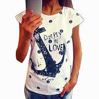 Трикотажная женская футболка с принтом Якорь, фото 1