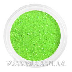 Глиттерный пісок для нігтів яскравий зелений