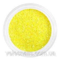 Глиттерный песок для ногтей яркий желтый
