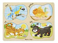 """Дерев'яні пазли 4 в 1 """"Домашні тварини"""" Melissa&Doug (MD9861)"""