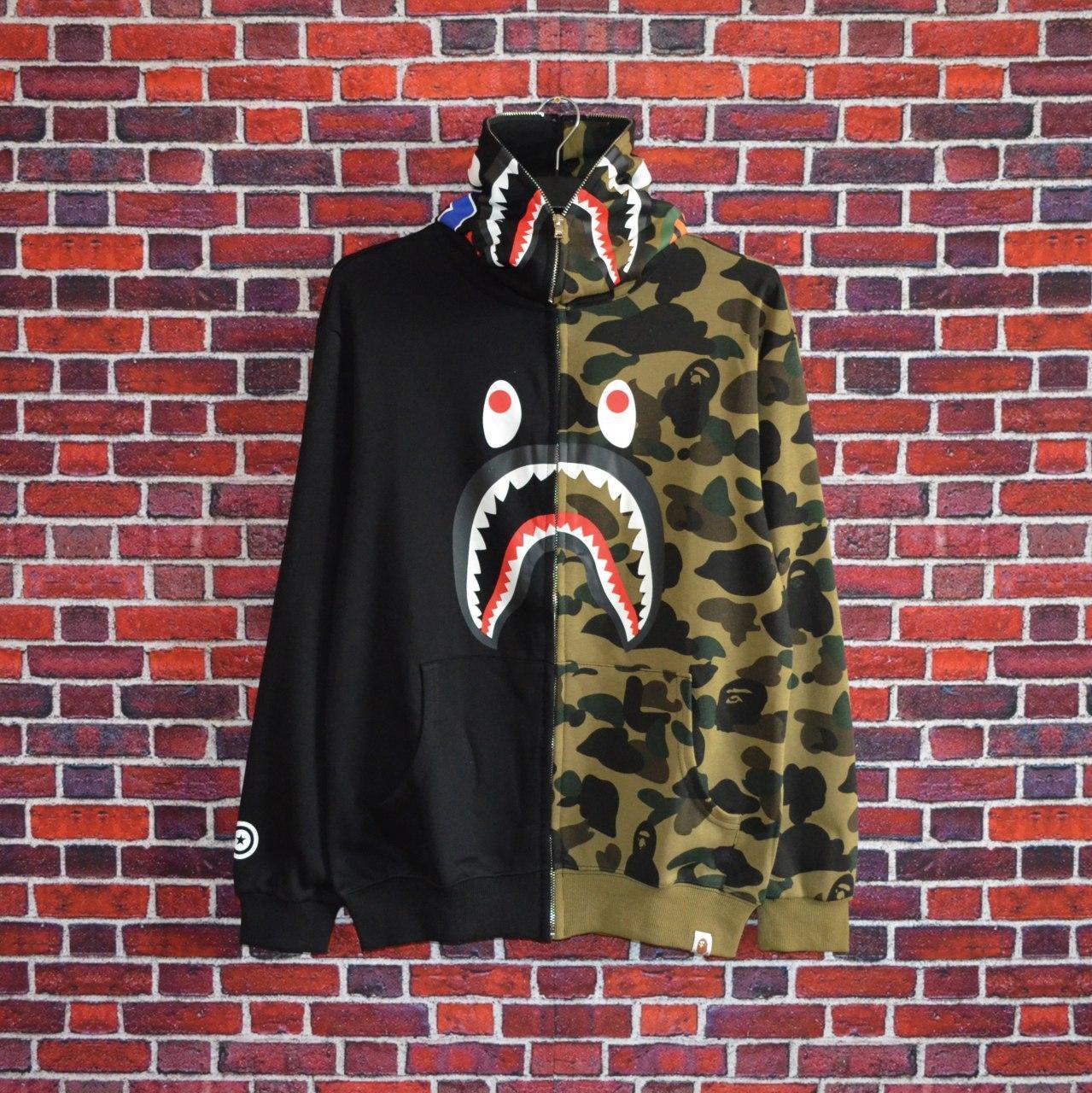 Худи Bape Shark FULL ZIP Green/Black