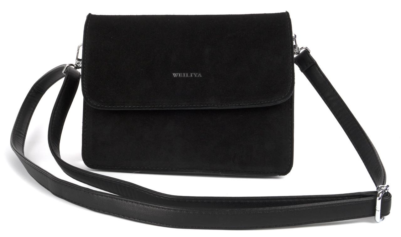 Жіноча стильна шкіряна замшева сумка WEILIYA art. 964 Туреччина чорна