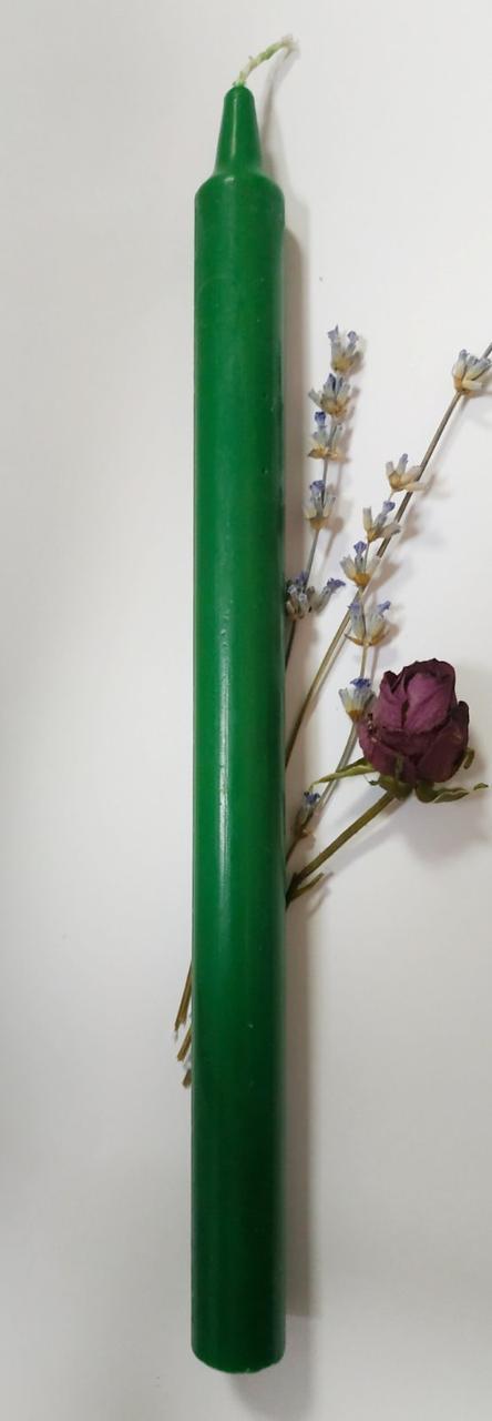 Свеча зелёная большая 25см