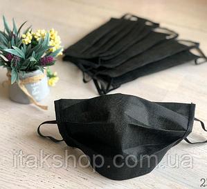 Защитная маска для лица трехслойная Черная