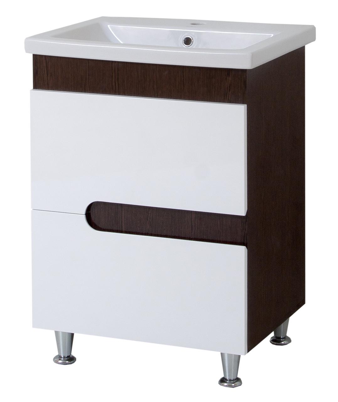 Тумба под раковину для ванной комнаты Симпл-Венге 70-30 (бока венге, вставка венге) с умывальником Комо 70 ПИК