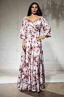Легенька шовкове плаття з рукавом-ліхтариком, в підлогу з глибоким вирізом (46-52), фото 1