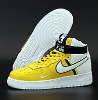 Мужские кроссовки Nike Air Force 1 '07 LV8 High NBA Yellow White. Живое фото (Реплика ААА+), фото 1