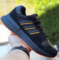 Мужские кроссовки Adidas ZX 500 черные с оранжевым. Живое фото (Реплика ААА+)