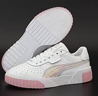 Жіночі кросівки Puma Cali White Pink Gray 36-40рр. Живе фото. Репліка ААА+