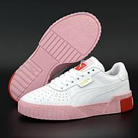 Жіночі кросівки Puma Cali Leather Trainers Ladi White Pink Red 36-40рр. Живе фото. Репліка ААА+