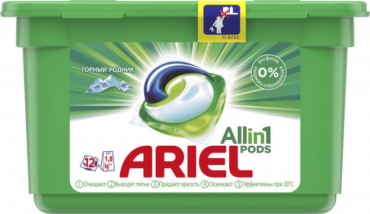 Капсулы для стирки Ariel Pods Все в 1 Горный родник 12 шт, фото 2